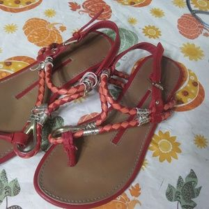 Size 8. 8 1\2 women coral/radish sandals